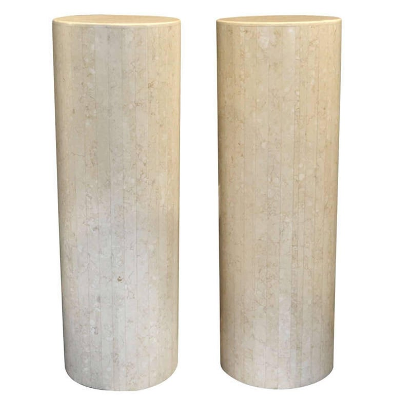 Pair of Postmodern Tessellated Stone Pedestals