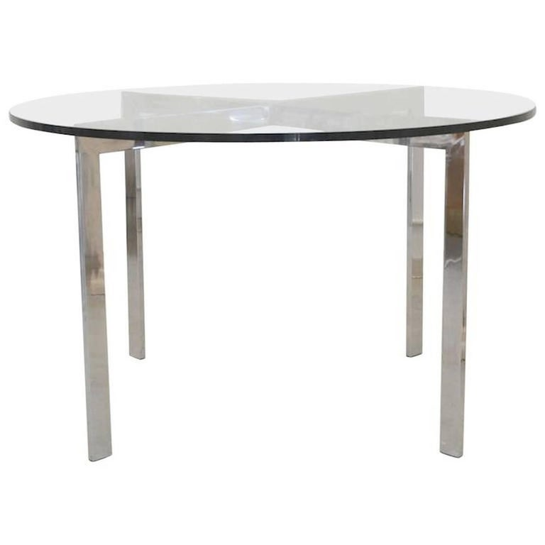 Midcentury Chrome and Glass Game Table
