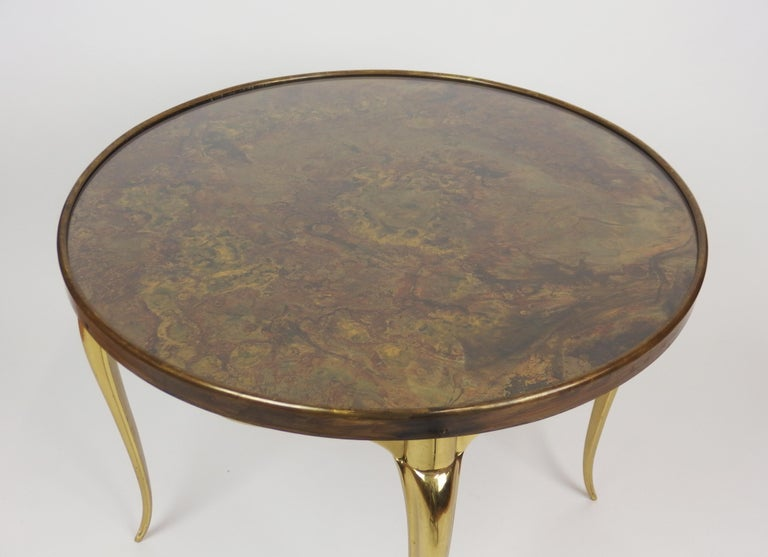 Mid Century Modern Midcentury Round Bronze Coffee Table For