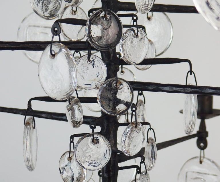 Glass Chandelier by Erik Hoglund For Sale