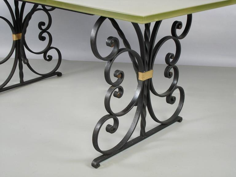 5ef8c66f49e0 French 1940s Wrought Iron and Glass Top Dining Table For Sale