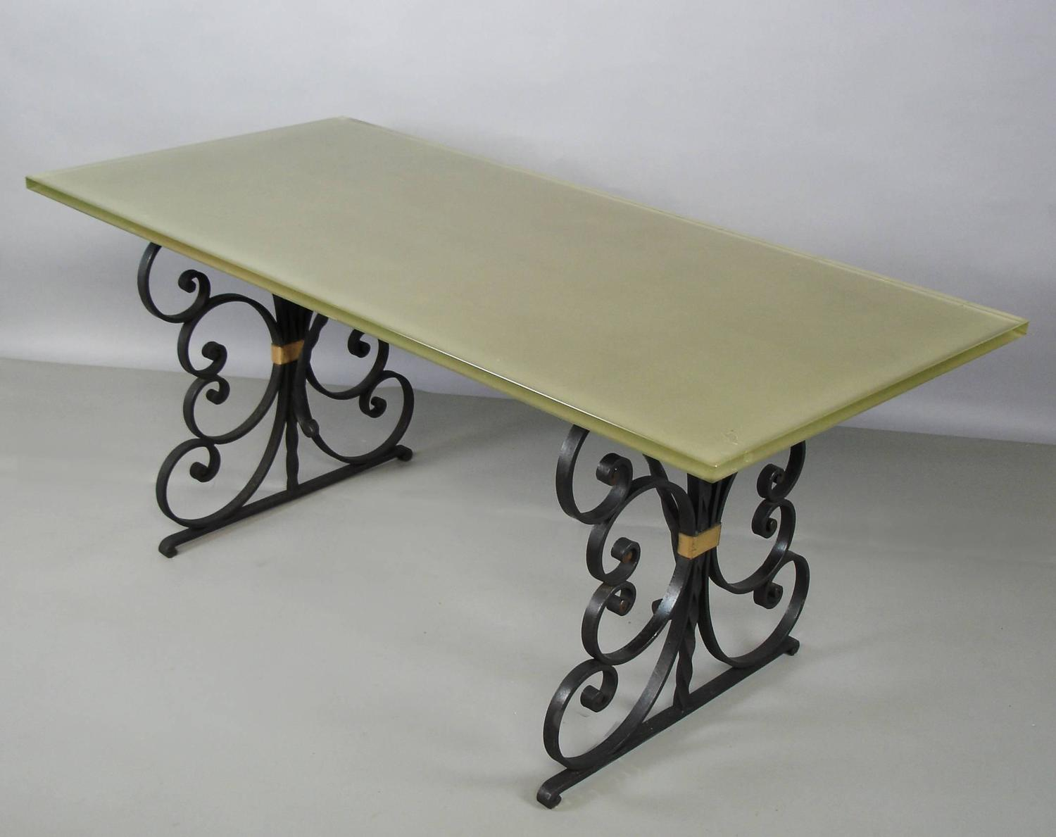 1940s Wrought Iron and Glass Top Dining Table For Sale at