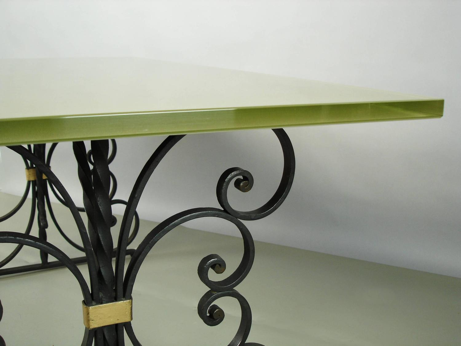 d45e38f61779 1940s Wrought Iron and Glass Top Dining Table at 1stdibs