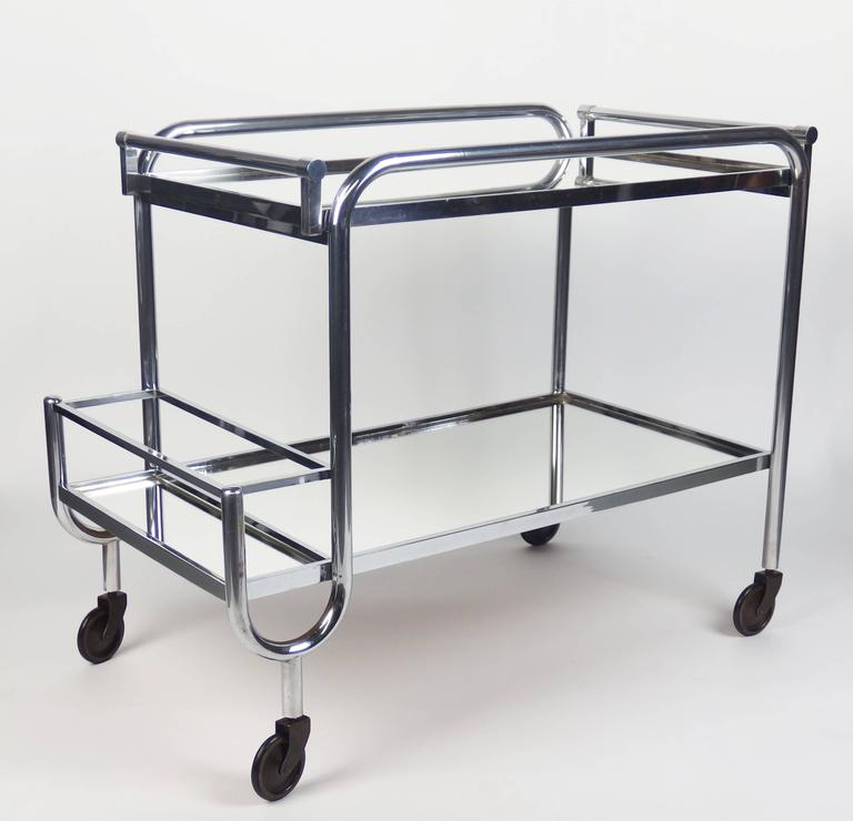 Art Deco Serving Bar Cart By Jacques Adnet At 1stdibs