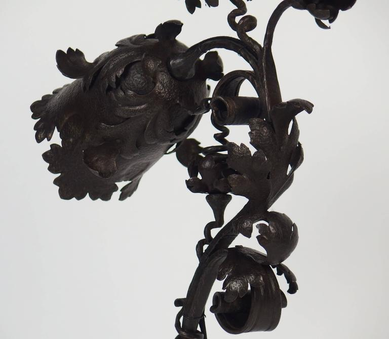 Hammered Art Nouveau Wrought Iron Table Lamp For Sale