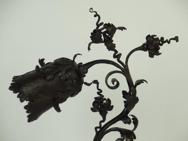 Early 20th Century Art Nouveau Wrought Iron Table Lamp For Sale