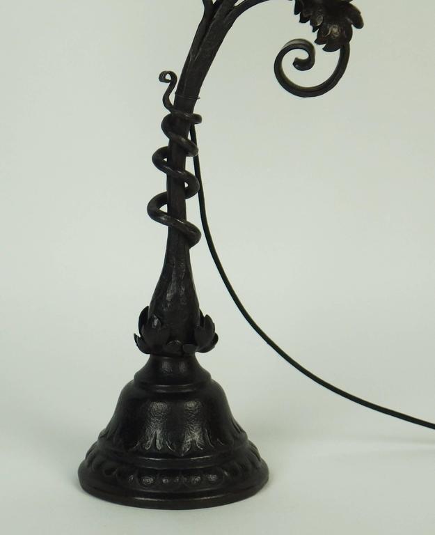 Art Nouveau Wrought Iron Table Lamp For Sale 1