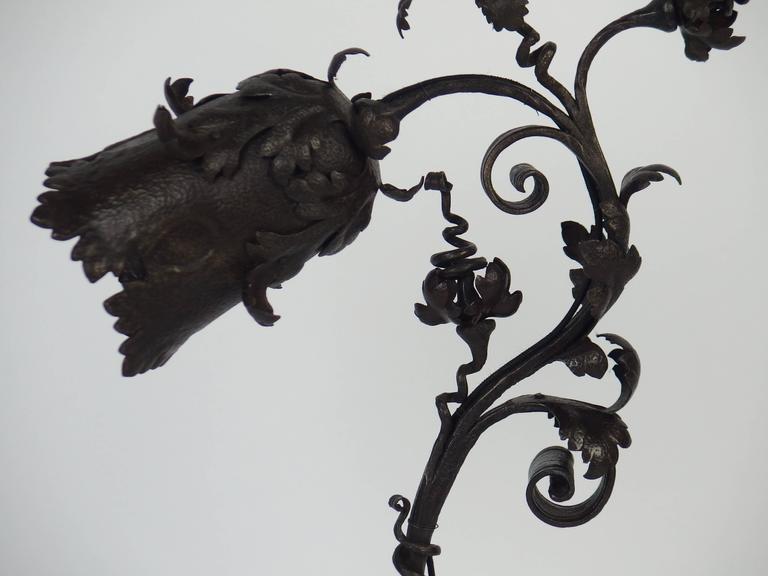 Art Nouveau Wrought Iron Table Lamp For Sale 2