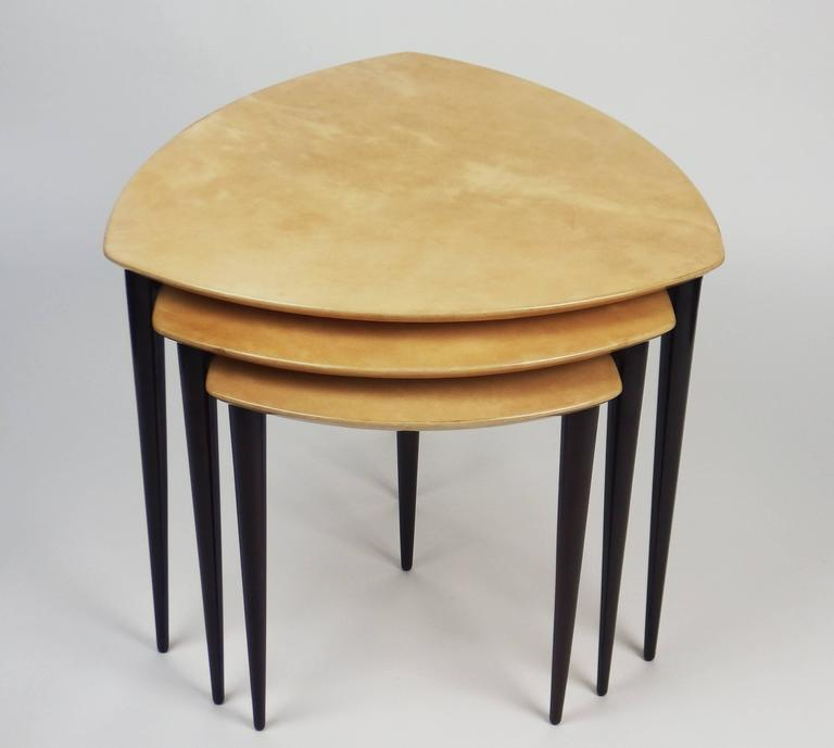 Three nesting tables by aldo tura at 1stdibs for Table triangulaire