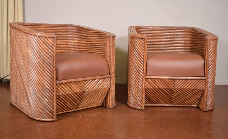 Pair of Bamboo Club Chairs For Sale 2