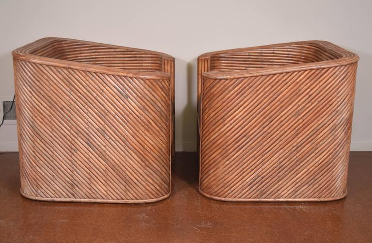 Pair of Bamboo Club Chairs In Excellent Condition For Sale In Princeton, NJ