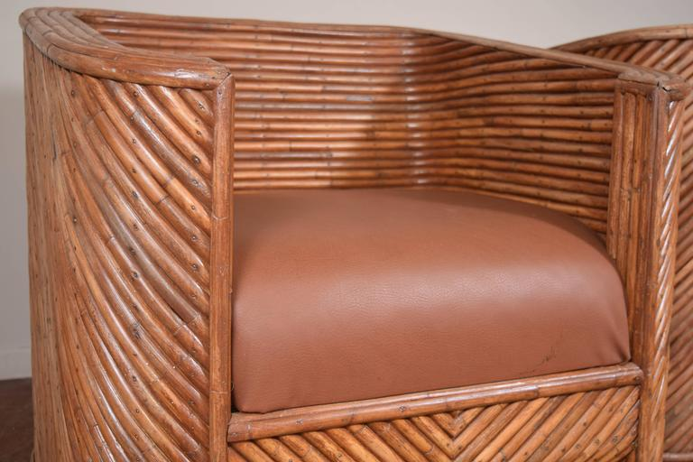 Mid-Century Modern Pair of Bamboo Club Chairs For Sale