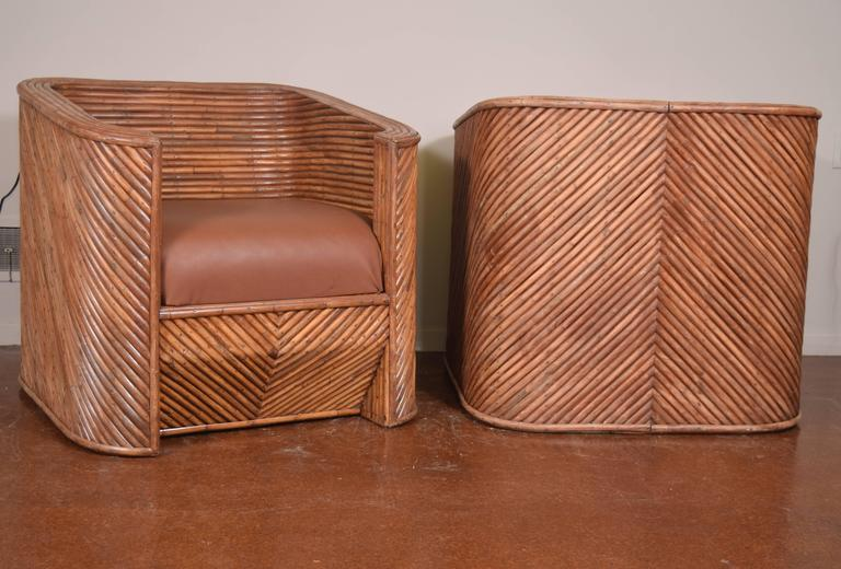 Pair of Bamboo Club Chairs For Sale 1