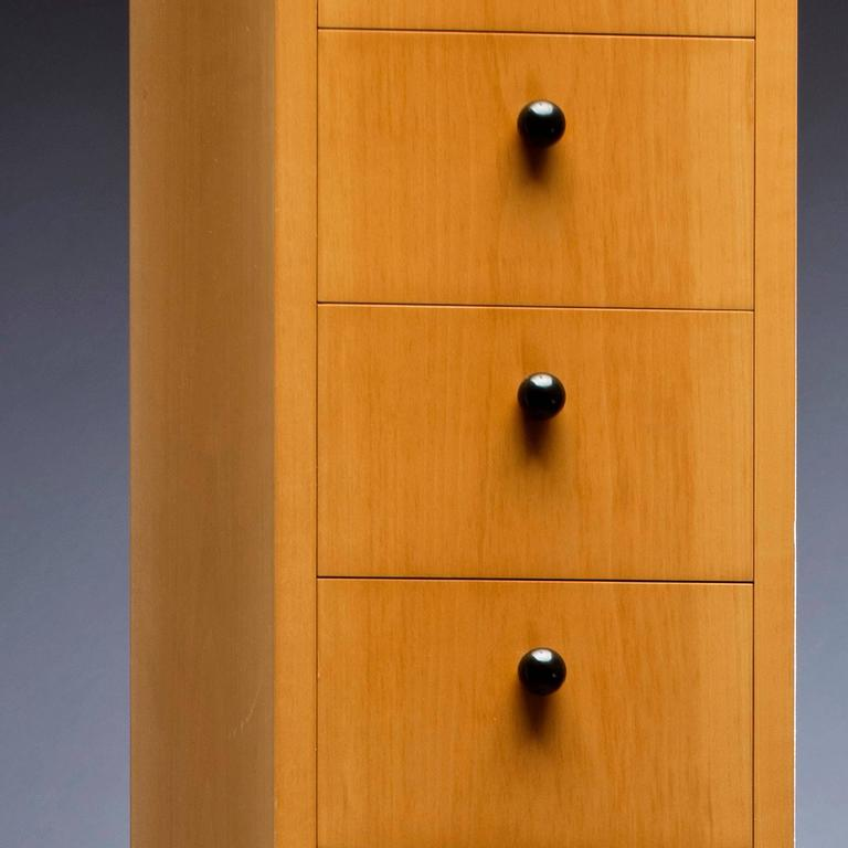 American 20th Century Tall Cabinet in Black and Blonde Wood  For Sale