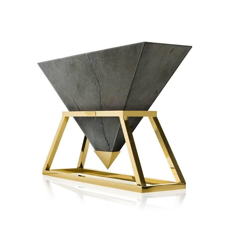 Contemporary Kheops Console Table in Concrete and Aluminum   2