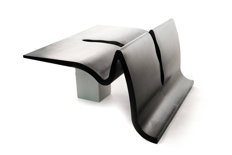 Contemporary Lava Side Table in Bronze and Marble  2