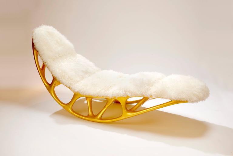 Contemporary Gilded Fiberglass Morphogenesis Chaise with Mongolian lamb skin 2