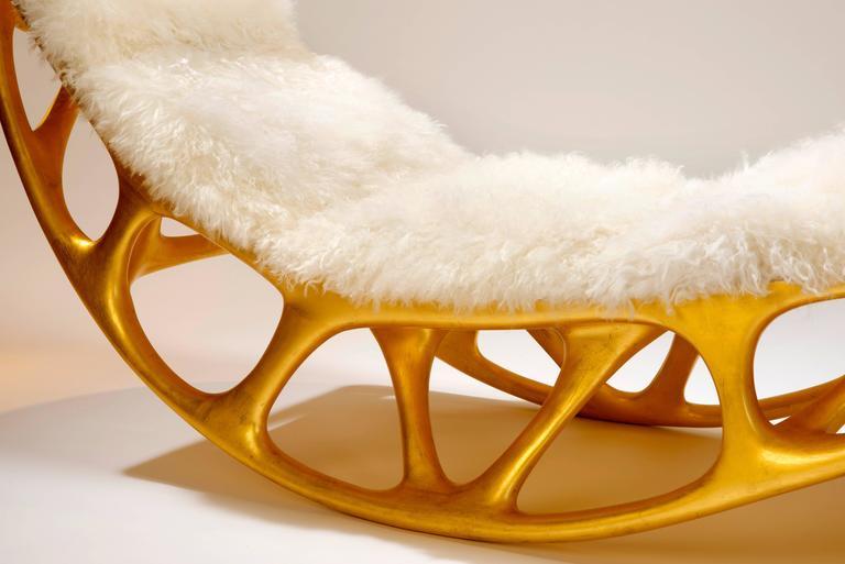Contemporary Gilded Fiberglass Morphogenesis Chaise with Mongolian lamb skin 5