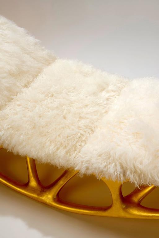 Contemporary Gilded Fiberglass Morphogenesis Chaise with Mongolian lamb skin 7