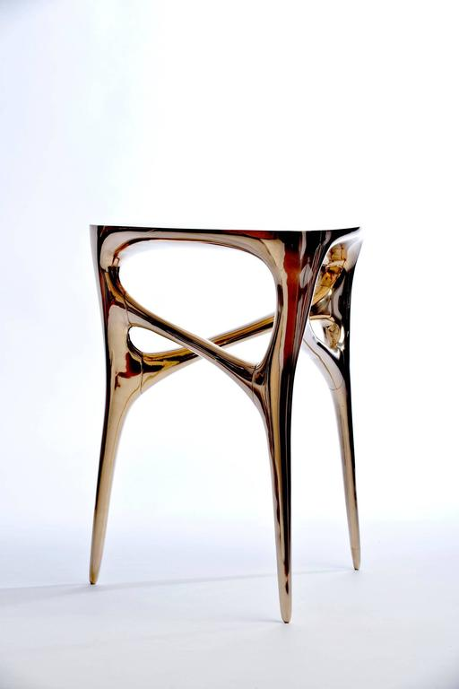 Contemporary Methodology Side Table In Cast And Polished