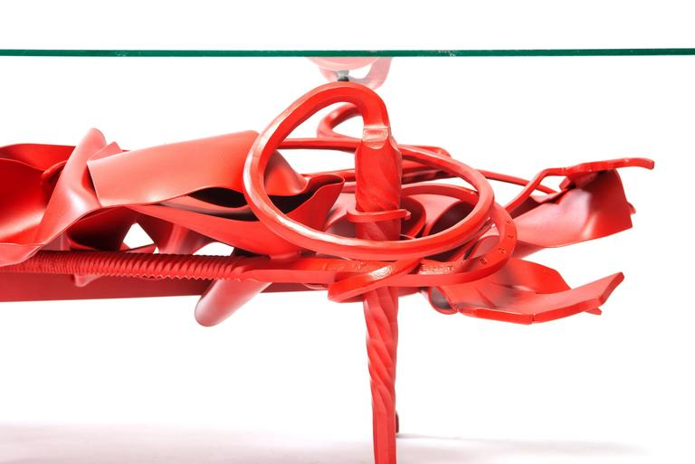 Contemporary New Muse Table in Forged, Sculpted and Painted Steel  In New Condition For Sale In Philadelphia, PA