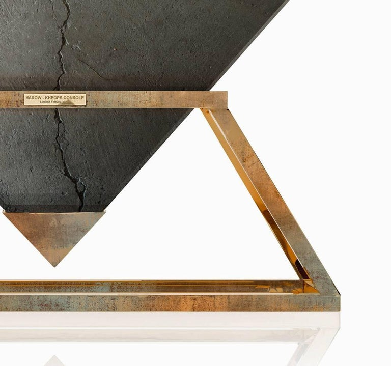 Kheops Console is a concrete and aluminium console table designed by Harow Studio.