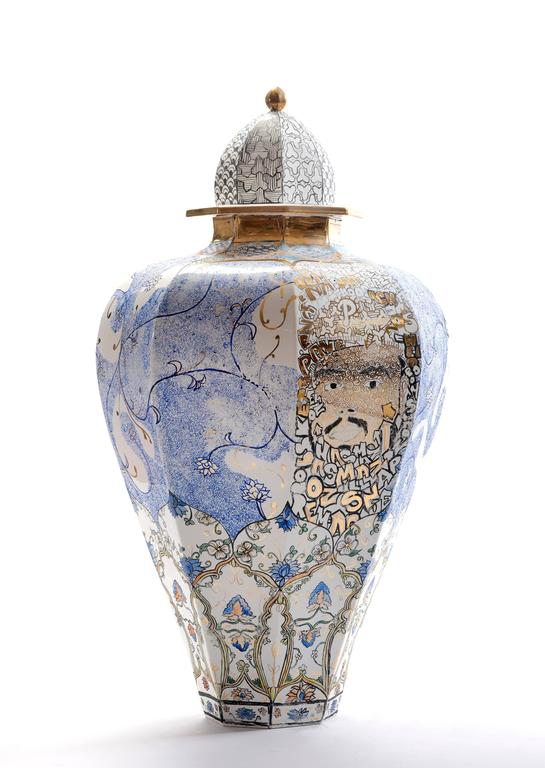 Contemporary Obama and Me Porcelain Urn For Sale 2