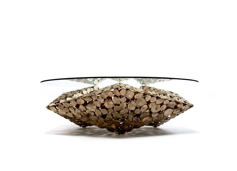 Contemporary Stellated Spherical Spring Coffee Table Cast Silicon Bronze & Glass 2