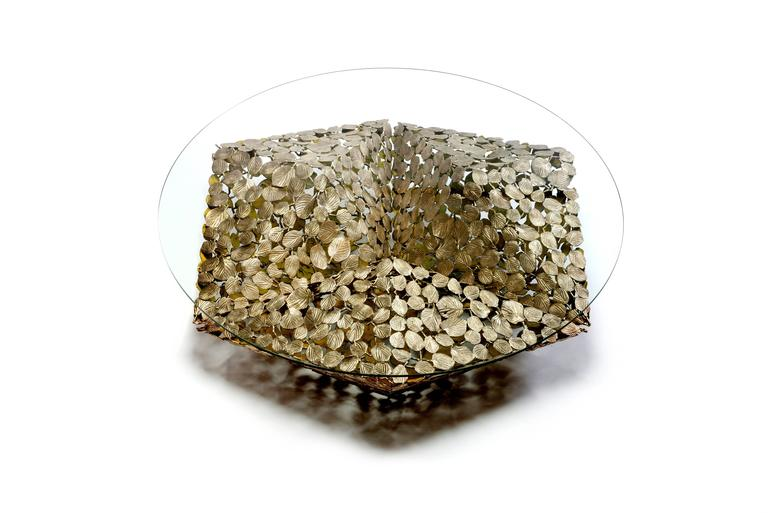 Contemporary Stellated Spherical Spring Coffee Table Cast Silicon Bronze & Glass 3