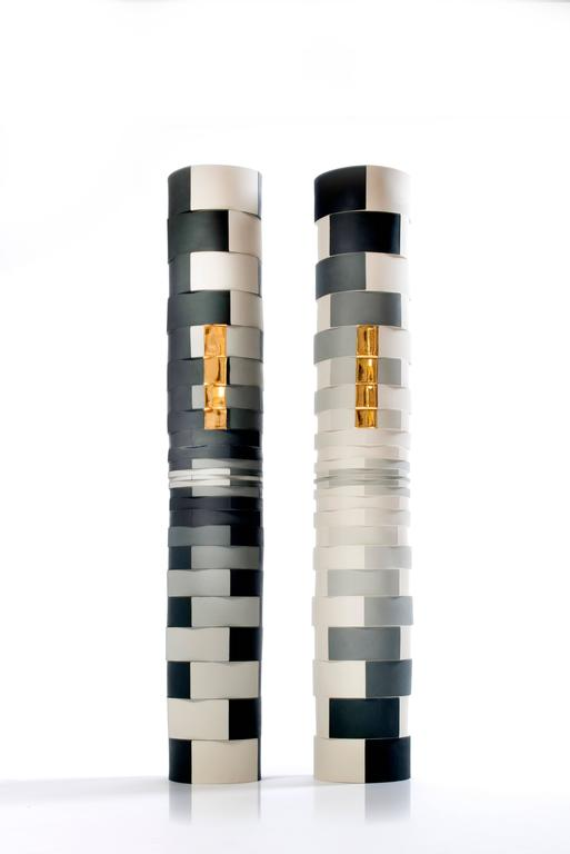Contemporary Study of One Grey Showing Two Faces Colored Porcelain Columns 2