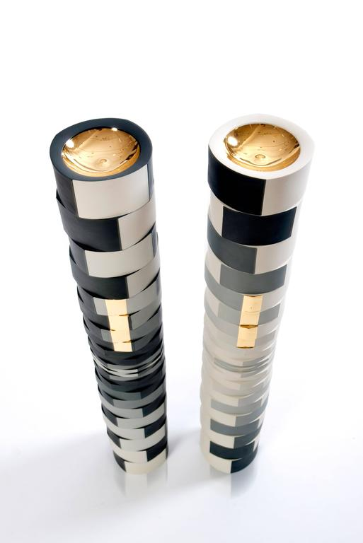 Contemporary Study of One Grey Showing Two Faces Colored Porcelain Columns 5