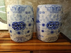 Blue & White Garden Stools A Pair