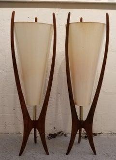 Sculpted Walnut Lamps A Pair