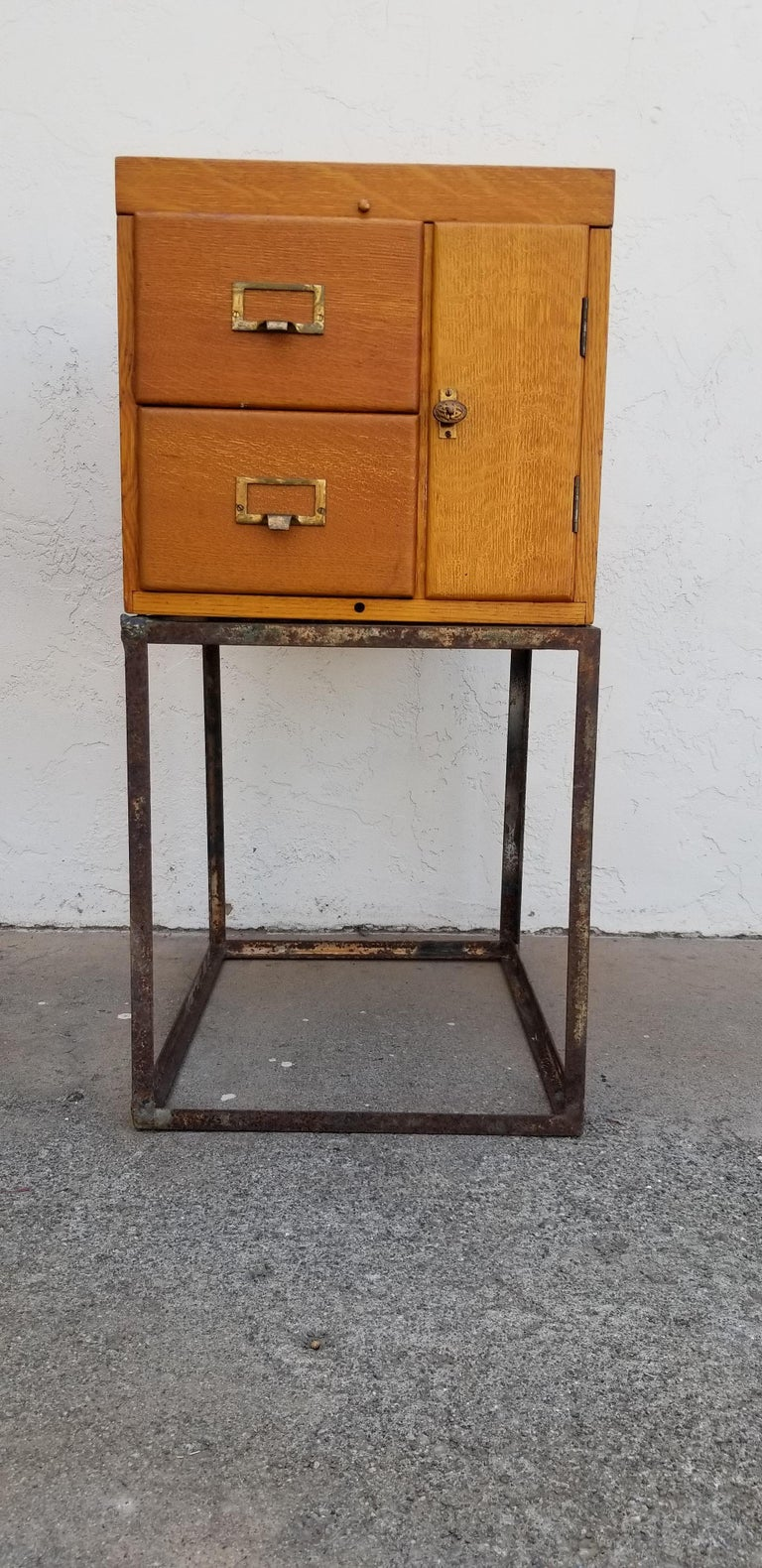 Custom Antique File Cabinet with Steel Base For Sale 4 - Custom Antique File Cabinet With Steel Base For Sale At 1stdibs