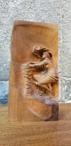 Art Nouveau Semi Nude Wood Carving of Ariadne Goddess of Wine