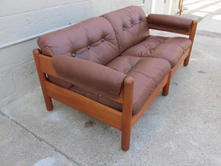 Scandinavian Modern Fine Teak And Leather Danish Modern Sofa By A. Mikael  Laursen For Sale