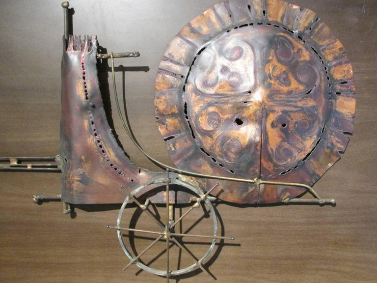 Horse And Chariot Brutalist Wall Sculpture For Sale At 1stdibs