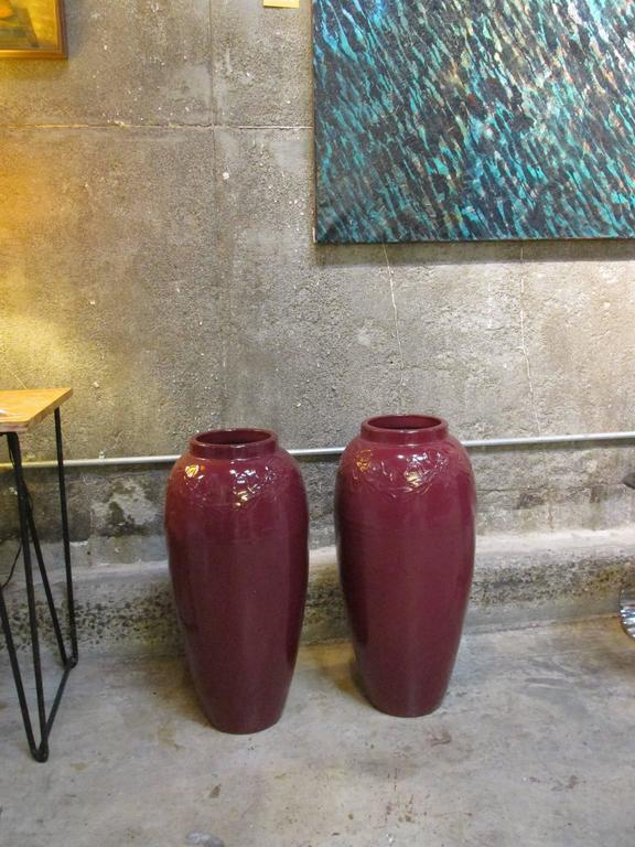 American Pair of 1950s Ceramic Jardinieres For Sale