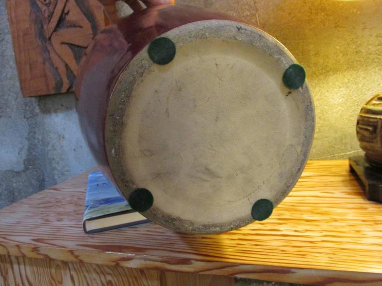 Glazed Pair of 1950s Ceramic Jardinieres For Sale