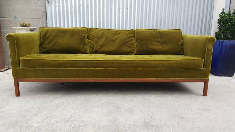 Low Profile Sofa By Metropolitan Furniture Of San Francisco Solid Walnut Base With Original Mohair