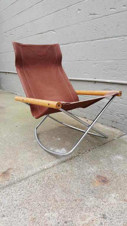 Folding Sling Seat Rocking Lounge Chair By Takeshi Nii At