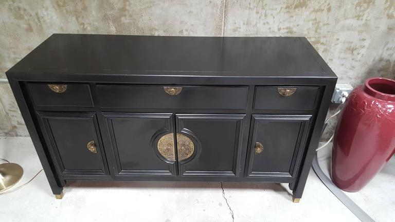 Black Lacquer Credenza By Century Furniture At 1stdibs