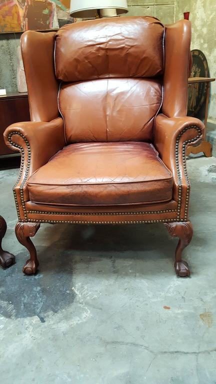 Gentil American Leather Club Chairs By Schafer Brothers For Sale