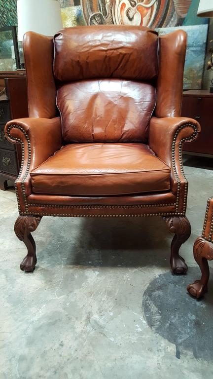 Etonnant A Pair Of 20th Century Leather Wing Chairs By Schafer Brothers Furniture.  Classic Carved Ball