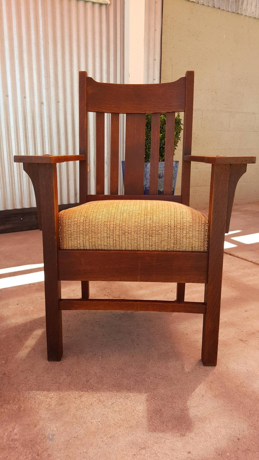 Mission arts and crafts rocker and armchair by harden for Crafting desks for sale