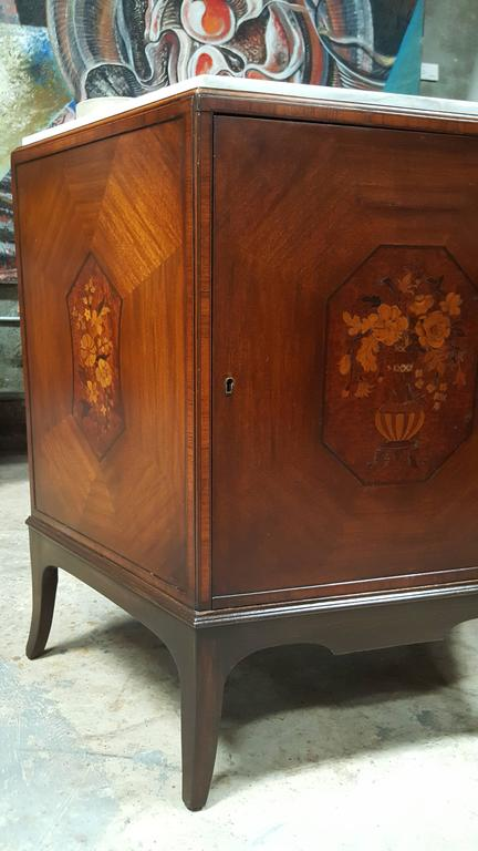 Art Deco Trapezoid Cabinet With Marble Top And Floral