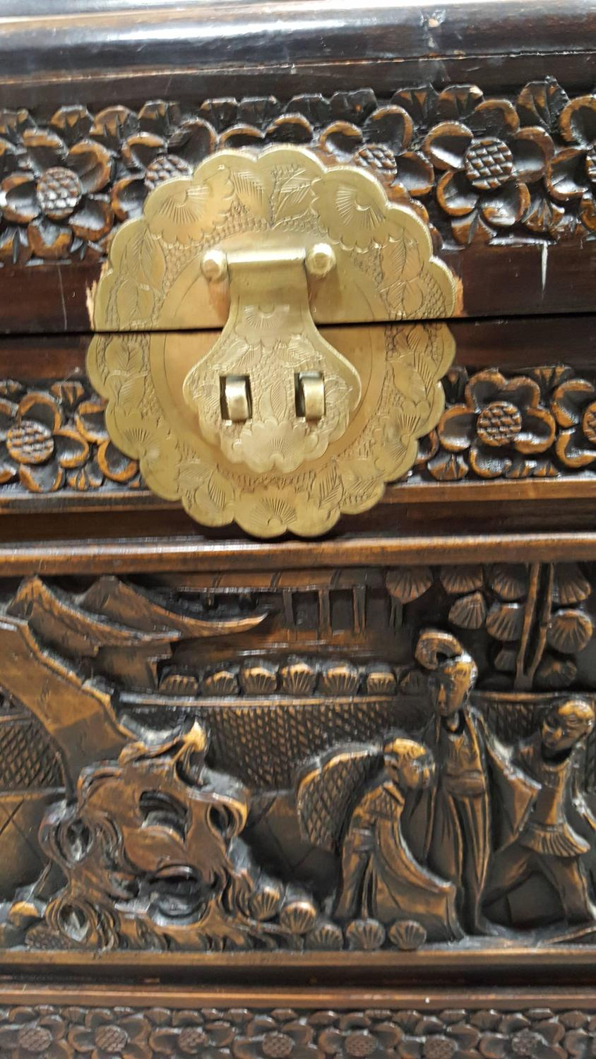 High relief carved chinese trunk for sale at stdibs