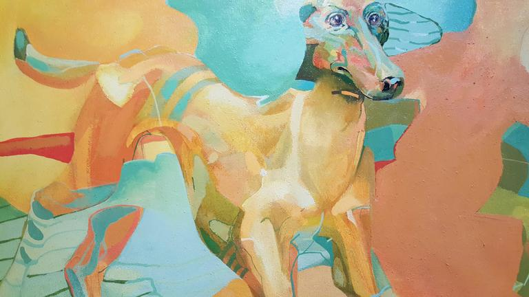 A striking pair of surrealism paintings by Manya Vaptsarova, artist and teacher. Vibrant color pallet depicting surreal, abstract dogs. Academy of Fine Arts, Sofia, Bulgaria. Associate Professor of art, Art National Academy. Paintings each measure,