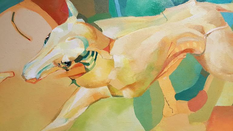 Dogs Abstract Surrealist Paintings In Excellent Condition For Sale In Fulton, CA