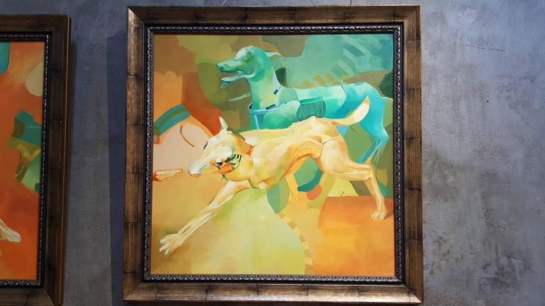 Acrylic Dogs Abstract Surrealist Paintings For Sale